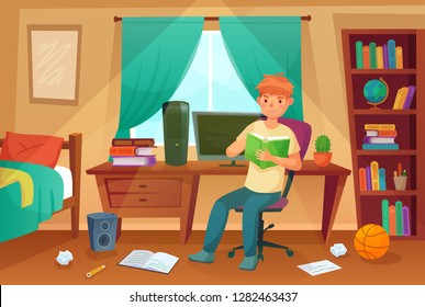 Student bedroom. Teenager read bock, college homework and student living room apartment. Children student bedroom or messy freelancer work disorganized house apartment cartoon illustration