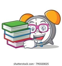 Student with book alarm clock mascot cartoon