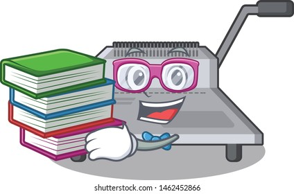 Student with book binding machine a in the character