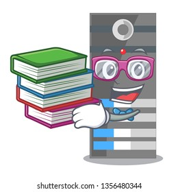 Student with book data server above the cartoon tables