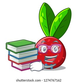 Student with book fruit yangmei isolated on the mascot
