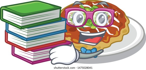 Student with book okonomiyaki is served on cartoon plate