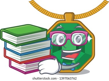 Student with book peridot jewelry above the cartoon table