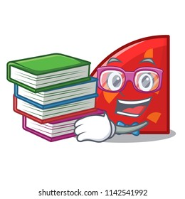 Student with book quadrant mascot cartoon style