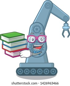 Student with book toy mechatronic robot arm cartoon shape