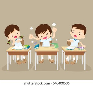 student boy angry shouted at desk.Raging kid and friends in classroom.Rampage boy.bullying children.