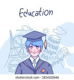Student boy character design of vector. Cartoon illustration.