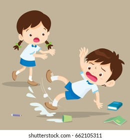 student boy falling on wet floor.Pupil looking at her friend falling.Clumsy kid