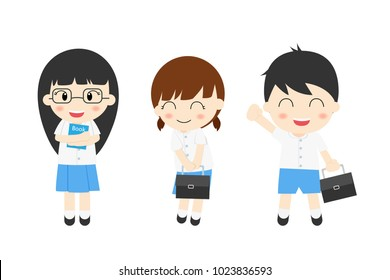 Student boy and girl cute character school uniform set isolated on white background , back to school , ready to study