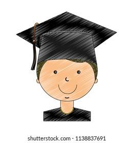 student boy graduted avatar character