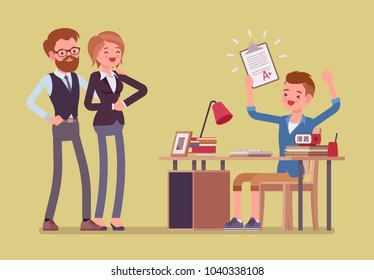Student boy happy with an excellent mark. School or college pupil showing parents a test with good grade, great study achievement. Science, education concept. Vector flat style cartoon illustration