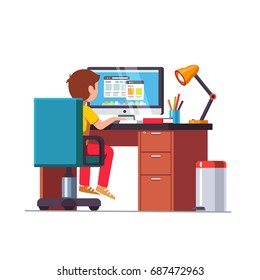 Child Studying Alone Stock Illustrations, Images & Vectors