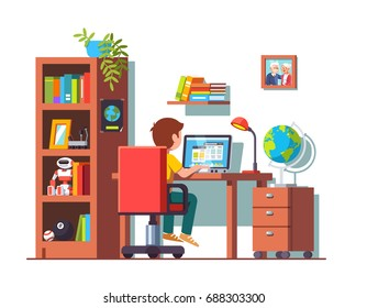 Student boy sitting at home office desk, doing school homework, surfing internet on laptop computer. Kids room interior with chair, table, bookcase, books & toys. Flat vector isolated illustration.