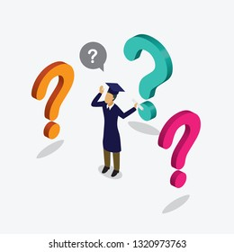 student boy standing with question mark