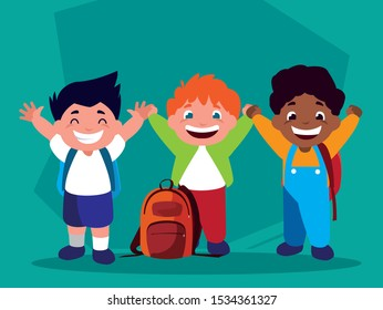 student boys with school supplies, back to school vector illustration design