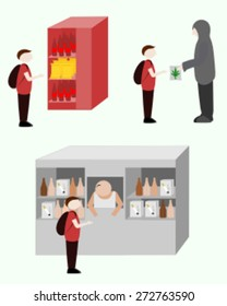Student buying items from a vending machine, buying drugs from a drug dealer, buying cigarettes and alcohol from a local store