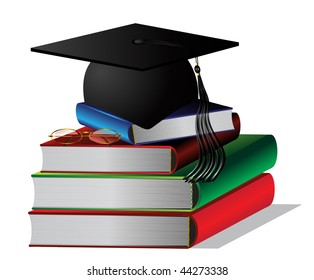 student cap on a pile of books
