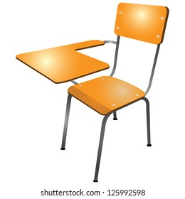 Student chair used in the classroom with the stand. Vector illustration.