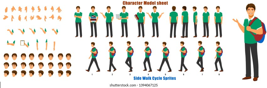 Student Character Model sheet with Walk cycle Animation. Flat character design. Front, side, back view animated character. character creation set with various views, face emotions,poses and gestures.