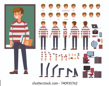 Student  character constructor and objects for animation.  Set of various men's poses, faces, mouth, hands, legs. Flat style vector illustration isolated on white background.
