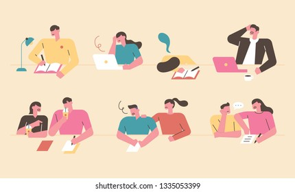 A student character studying in a library of various situations. flat design style minimal vector illustration