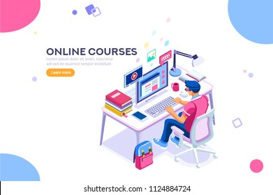 Student character studying and thinking sitting at desk and writing university exam. College infographics with teaching man with isometric school homework reading a test. Flat Isometric illustration.