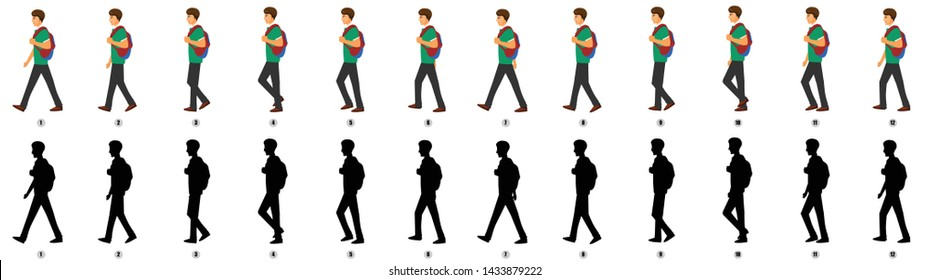 Student Character Walk cycle Animation Sequence