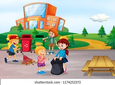 Student cleaning school area illustration