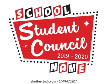 Student Council Shirt Design, Poster or Banner Layout for School Elections, Isolated Vector Graphic for Teachers & Students, Retro Illustration, Vintage Sign Layout, Educational Use, Teacher Resources