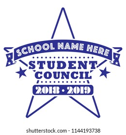 Student Council Tee Shirt Design for Schools, School Election Poster 2018 - 2019, T-Shirt Layout, Star Design K-12, Vector Art for Teachers and Students