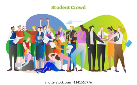 Student crowd vector illustration. Group of young people in college or university. Standing teacher and sitting girl with laptop. Study and get smart with knowledge. Persons together with backpacks.