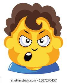 Student with curly brown hair is cranky illustration vector on white background