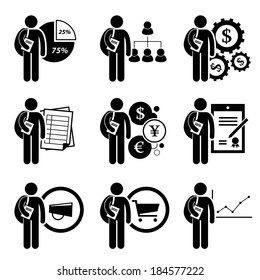 Student Degree in Business Management Stick Figure Pictogram Icon