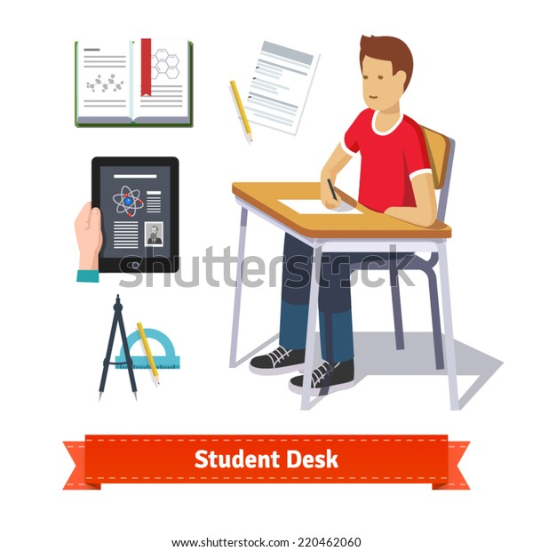 Student desk colourful flat icon set. Classroom student sitting at the desk and writing on the paper. EPS 10 vector.