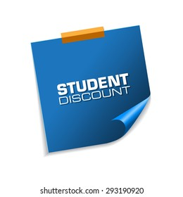 Student Discount Blue Sticky Notes Vector Icon Design