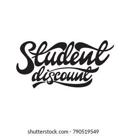 Student discount lettering design. Vector illustration.