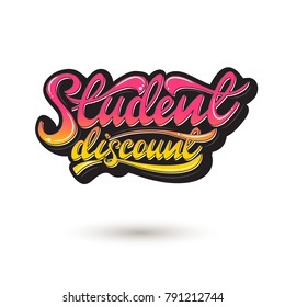 Student discount Lettering sticker design. Vector illustration.