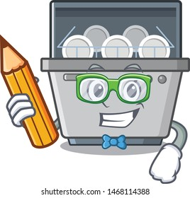 Student dishwasher machine isolated in the cartoon