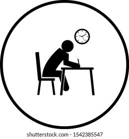student doing a test symbol