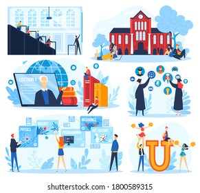 Student education concept vector illustration set. Cartoon flat educational collection with young people studying in college, university or online course, graduates choose specialty isolated on white