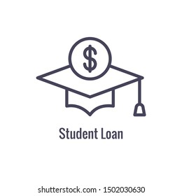 Student Education Icon w imagery depicting the education process and payment