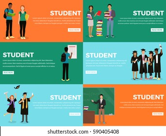Student everyday life process colourful web banner with orange, green and blue backgrounds. Students holding books, looking at schedule, standing near blackboard and graduating from university