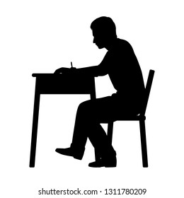 The student in examination room silhouette vector