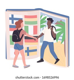 Student exchange program flat concept vector illustration. Caucasian girl and african american boy, university pupils 2D cartoon characters for web design. Education abroad experience creative idea