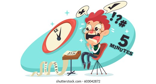 Exam stress images stock photos vectors shutterstock student experiences exam stress excitement worrying fear vector cartoon character illustration thecheapjerseys Images
