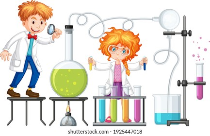 Student with experiment chemistry items illustration