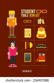 Student Flat Icon Set. Vector . Eps.10