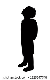 a student girl with bag, looking up, silhouette vector