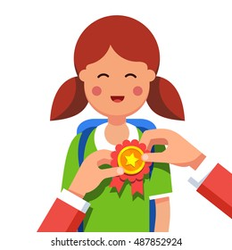 Student girl being awarded for a win at school fair. Hands pinning winner ribbon award to a kids chest. Flat style modern vector illustration isolated on white background.