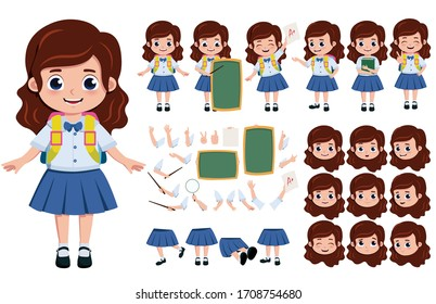 Student girl character creation vector set. School girl editable character creation kit in different face, hand and body pose for education elements. Vector illustration.